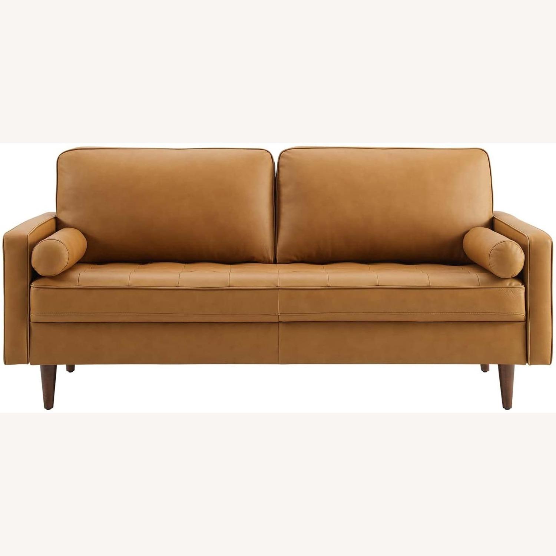 Modern Style Sofa In Tan Leather W/ Foam Padding - image-1