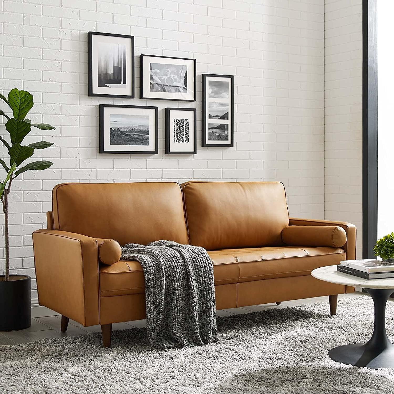 Modern Style Sofa In Tan Leather W/ Foam Padding - image-7