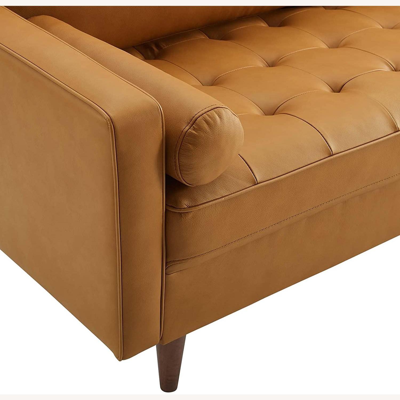 Modern Style Sofa In Tan Leather W/ Foam Padding - image-4