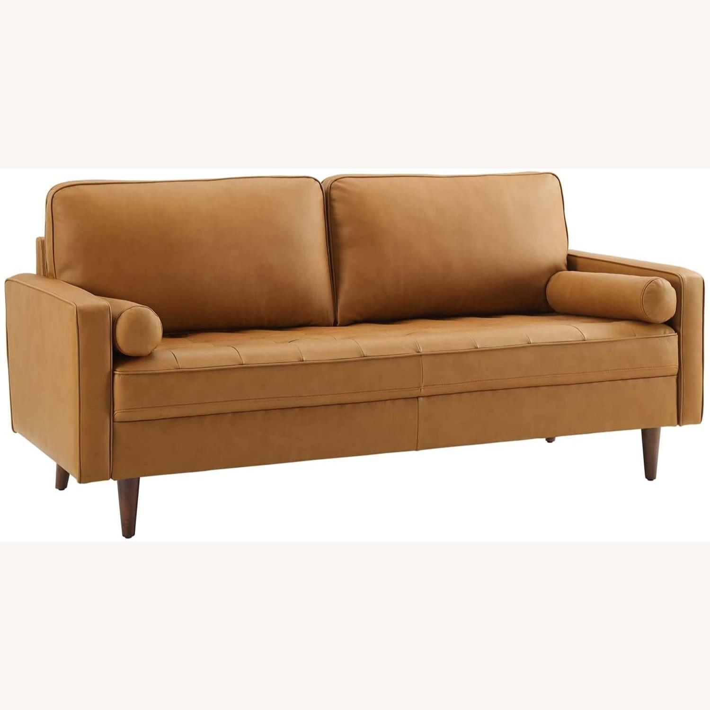 Modern Style Sofa In Tan Leather W/ Foam Padding - image-0