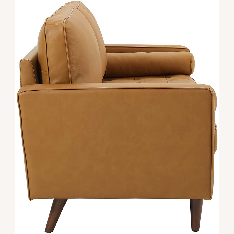 Modern Style Sofa In Tan Leather W/ Foam Padding - image-3