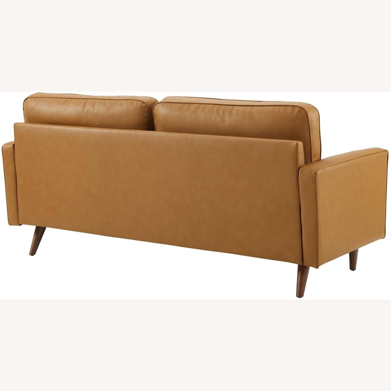 Modern Style Sofa In Tan Leather W/ Foam Padding - image-2