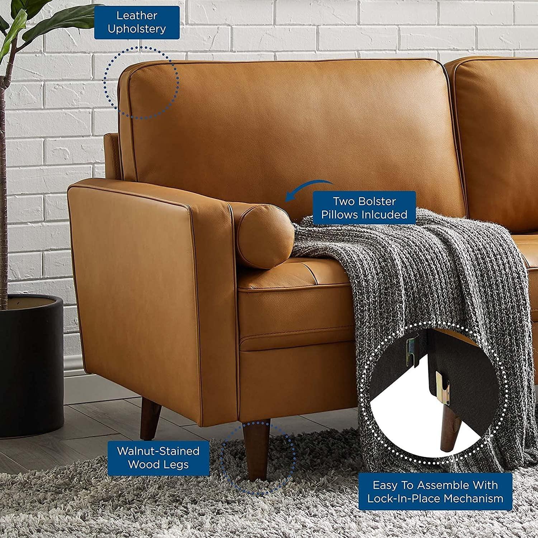 Modern Style Sofa In Tan Leather W/ Foam Padding - image-6