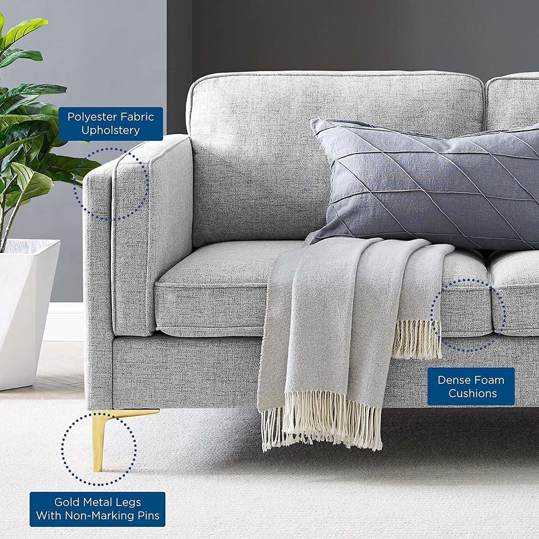 Retro Modern Style Sofa In Light Gray Fabric - image-6