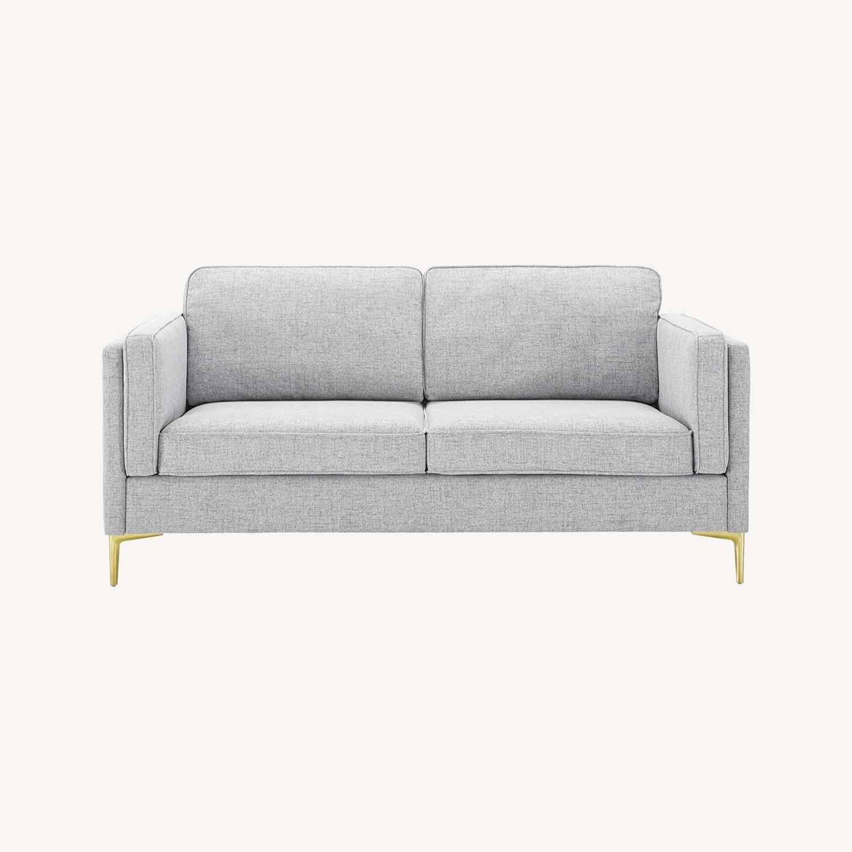 Retro Modern Style Sofa In Light Gray Fabric - image-8
