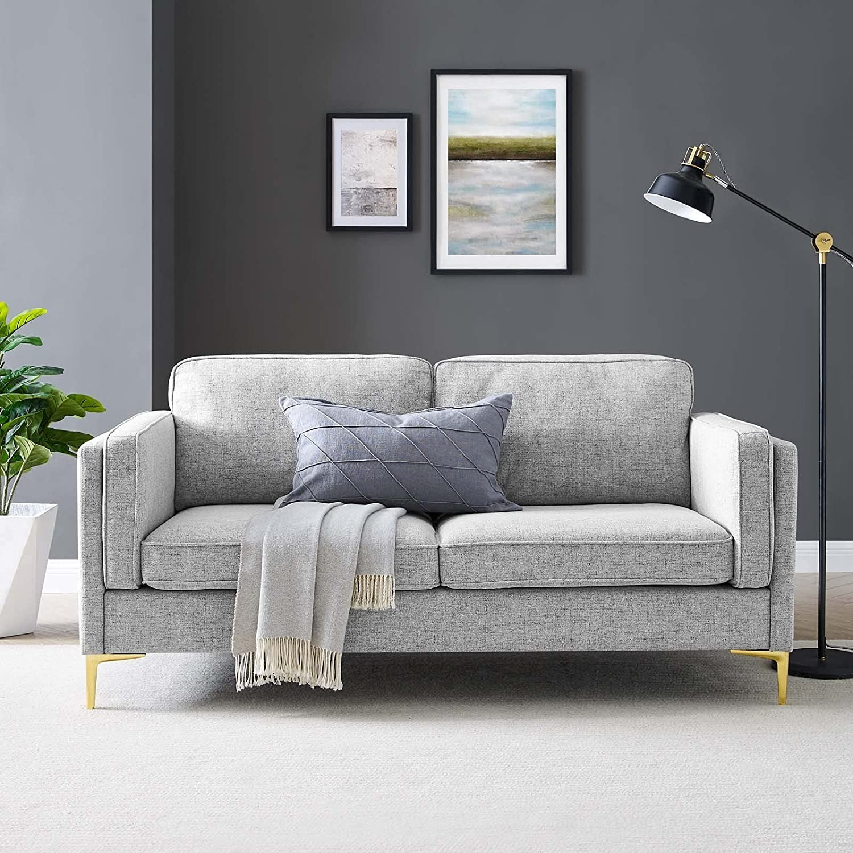 Retro Modern Style Sofa In Light Gray Fabric - image-7