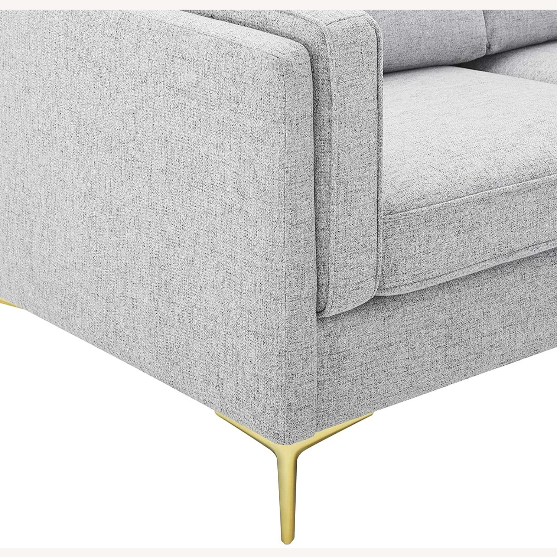 Retro Modern Style Sofa In Light Gray Fabric - image-5
