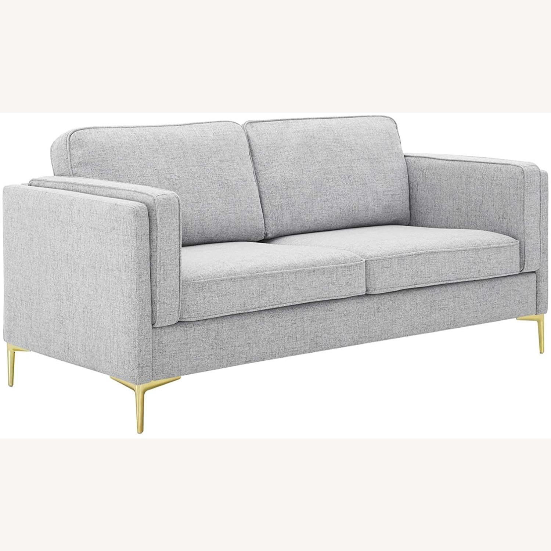 Retro Modern Style Sofa In Light Gray Fabric - image-0