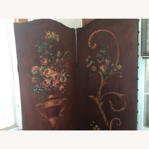 Used Antique Oil on Leather Hand Painted Screen for sale on AptDeco