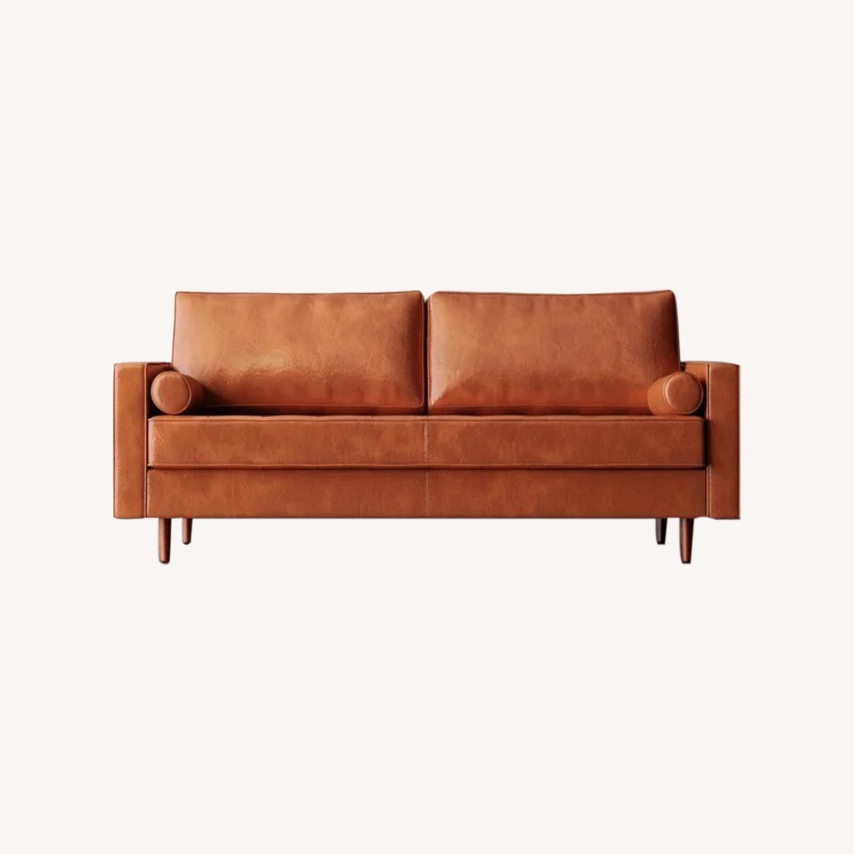 Wayfair Hailee 84'' Genuine Leather Square Arm Sofa - image-0