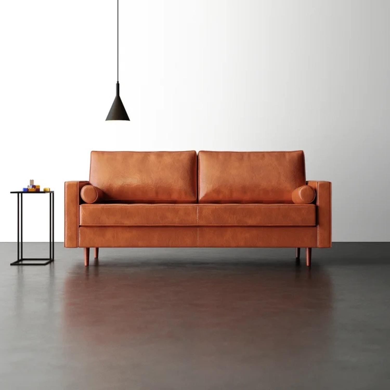 Wayfair Hailee 84'' Genuine Leather Square Arm Sofa - image-1