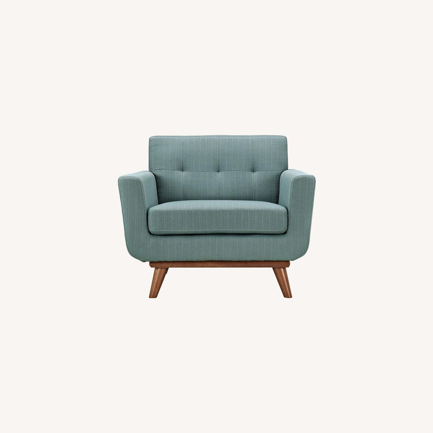 Armchair In Laguna Fabric W/ 3 Tufted Buttons - image-6