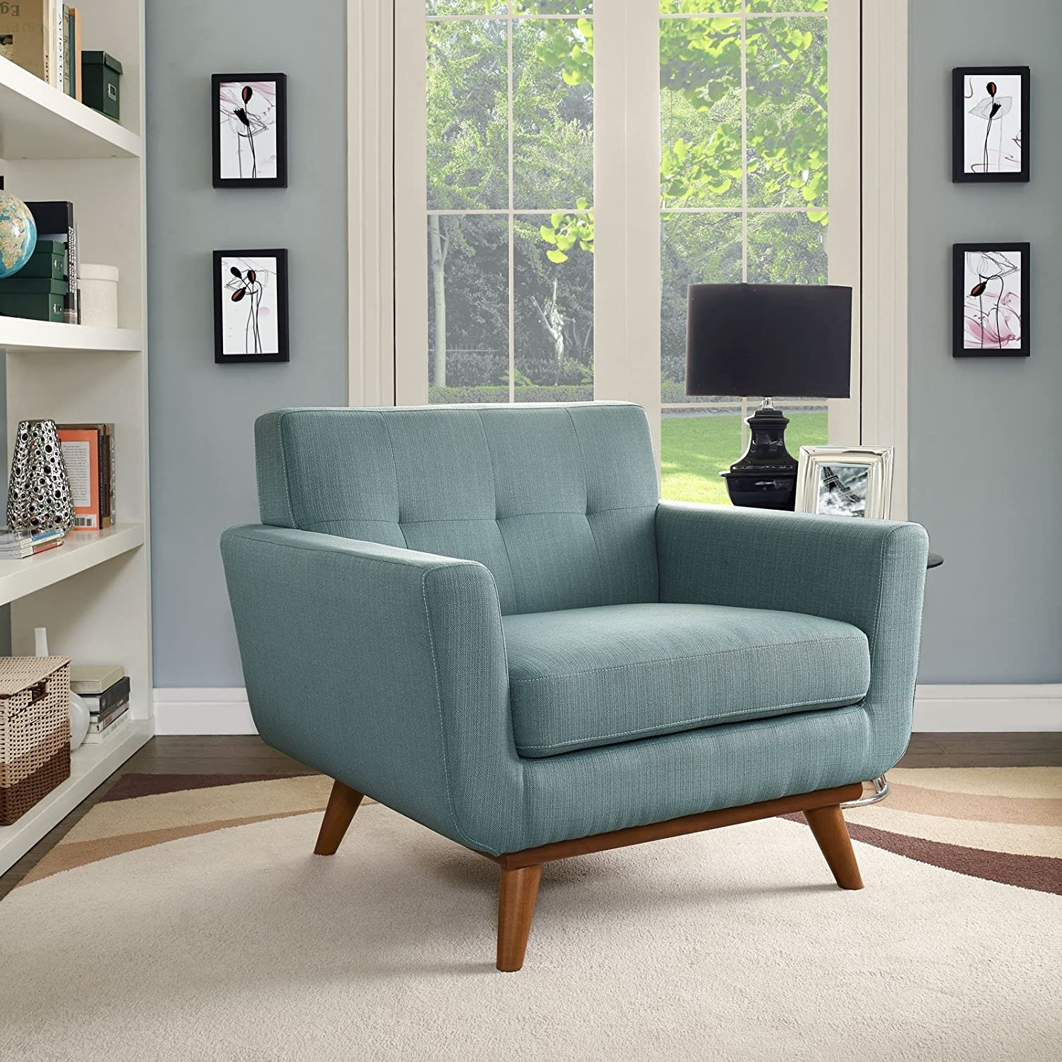 Armchair In Laguna Fabric W/ 3 Tufted Buttons - image-4