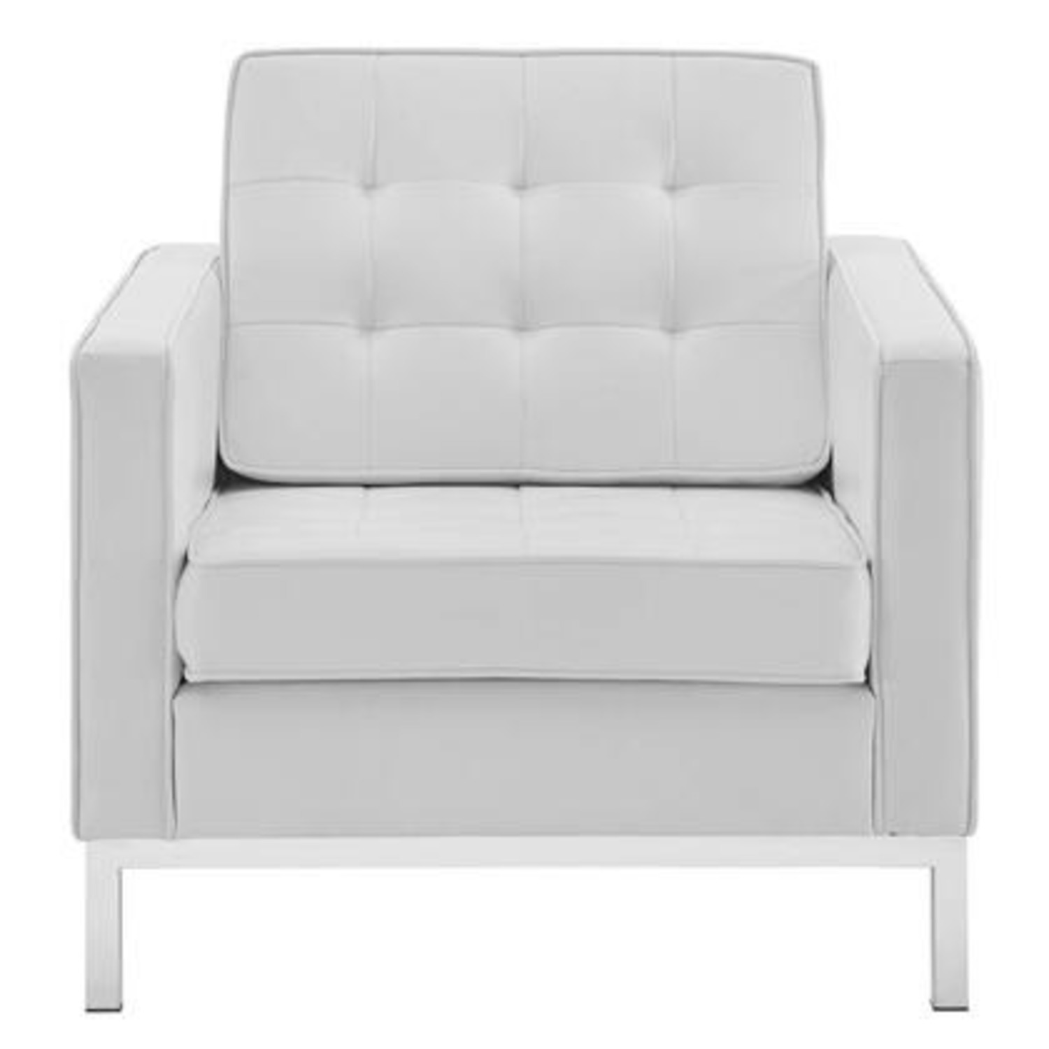 Armchair In White Faux Leather W/ Silver Legs - image-1