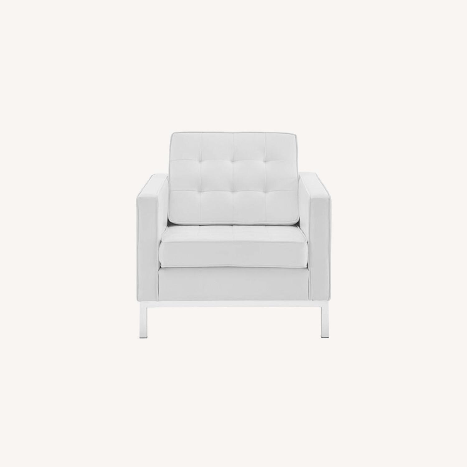 Armchair In White Faux Leather W/ Silver Legs - image-6