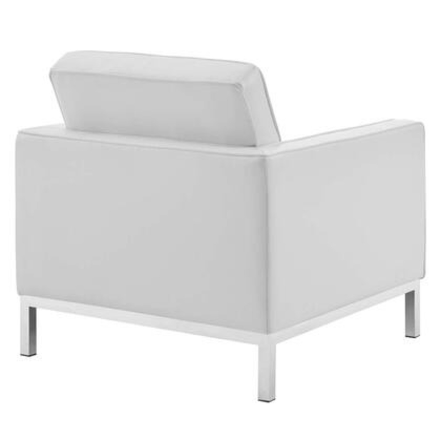 Armchair In White Faux Leather W/ Silver Legs - image-2
