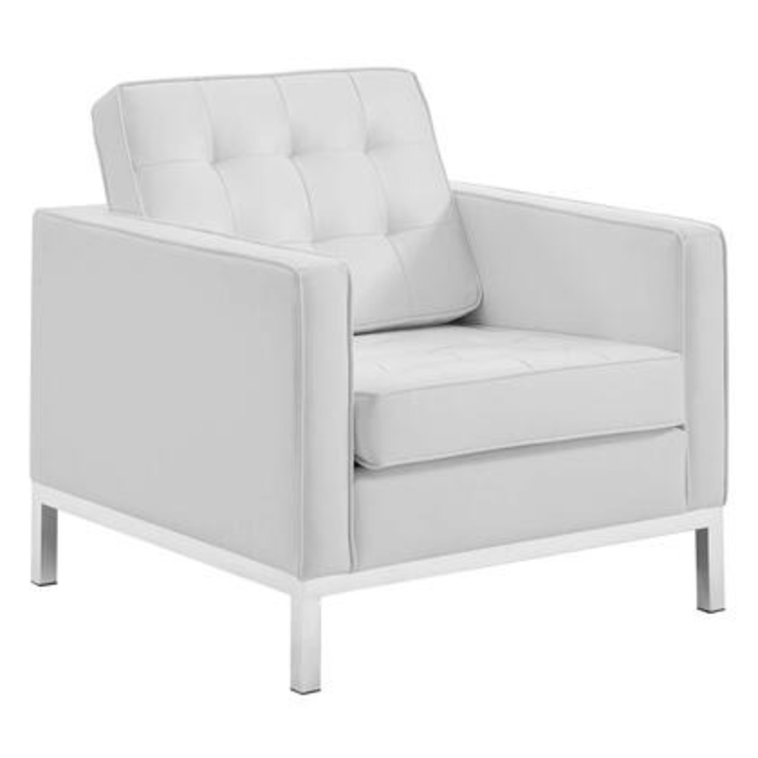 Armchair In White Faux Leather W/ Silver Legs - image-0