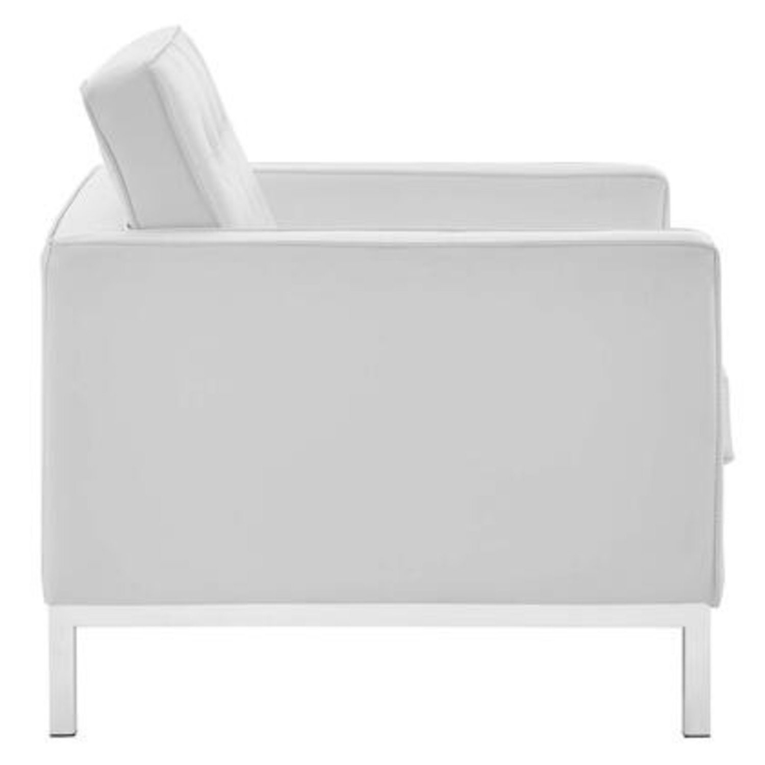Armchair In White Faux Leather W/ Silver Legs - image-3
