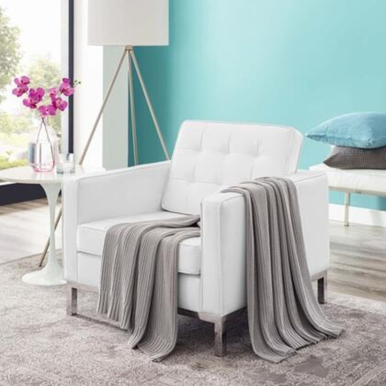 Armchair In White Faux Leather W/ Silver Legs - image-4