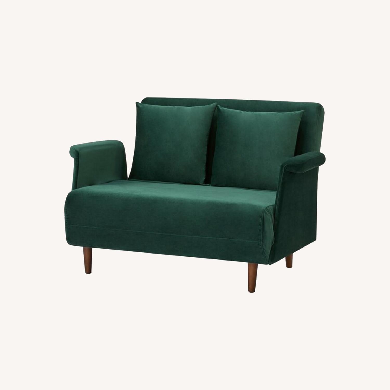 Wayfair Emerald Green Velvet Loveseat - image-0
