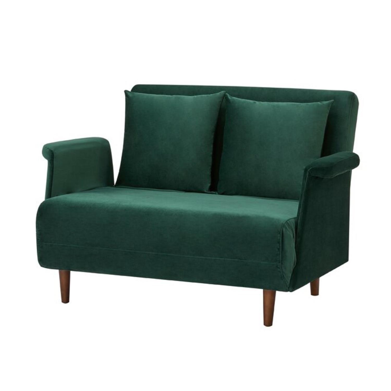 Wayfair Emerald Green Velvet Loveseat - image-1