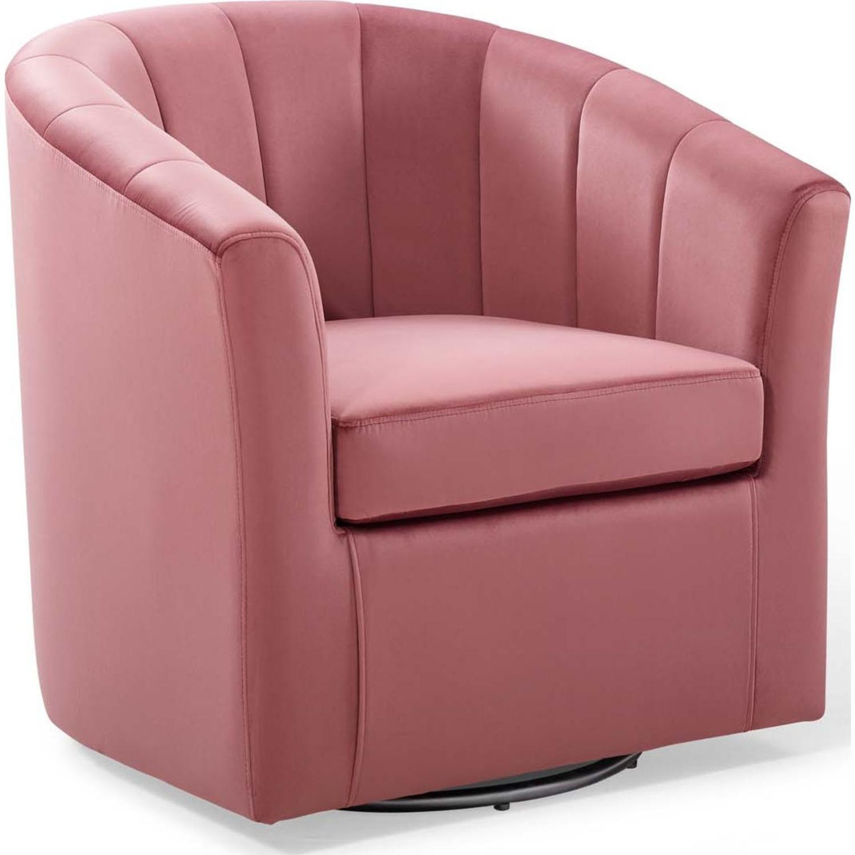 Swivel Armchair In Dusty Rose Velvet Finish - image-0