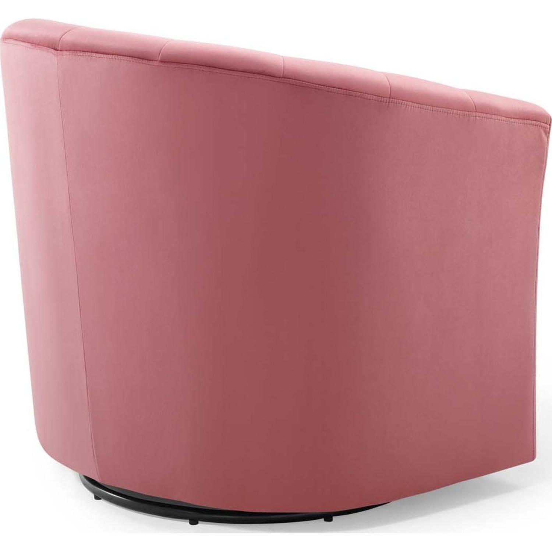 Swivel Armchair In Dusty Rose Velvet Finish - image-2