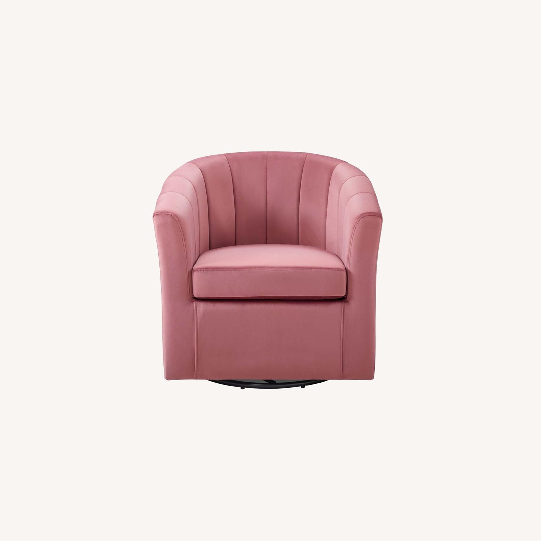Swivel Armchair In Dusty Rose Velvet Finish - image-8