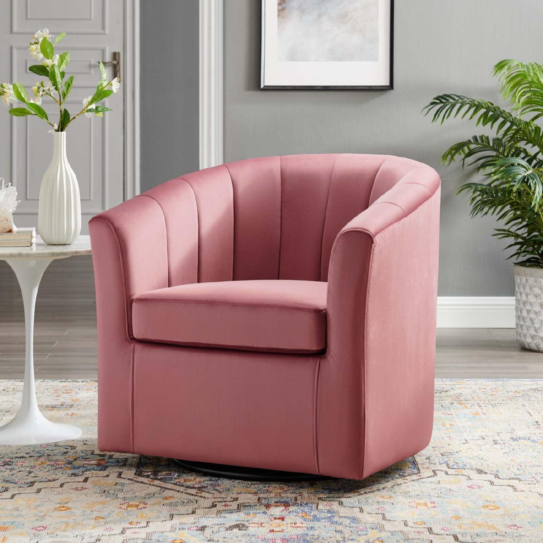 Swivel Armchair In Dusty Rose Velvet Finish - image-7