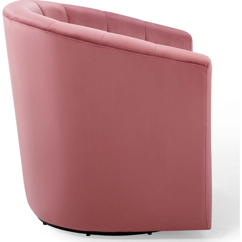 Swivel Armchair In Dusty Rose Velvet Finish - image-3