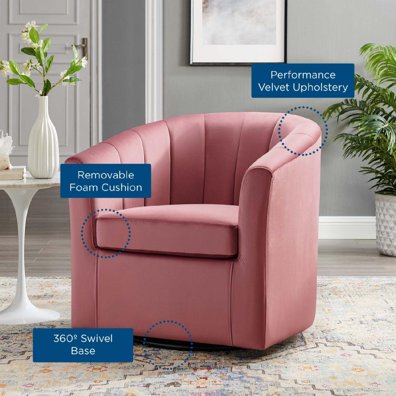 Swivel Armchair In Dusty Rose Velvet Finish - image-6