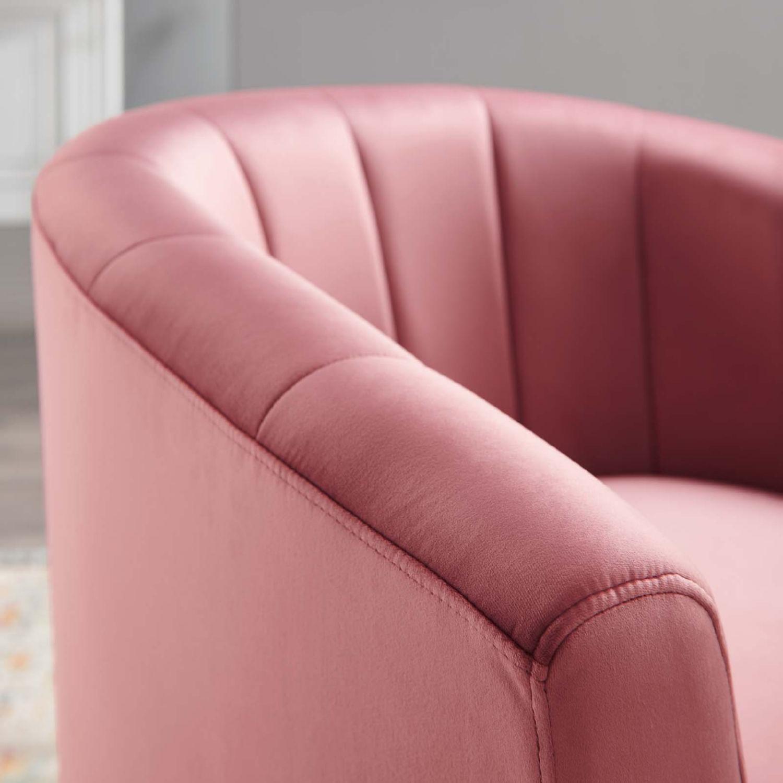 Swivel Armchair In Dusty Rose Velvet Finish - image-5