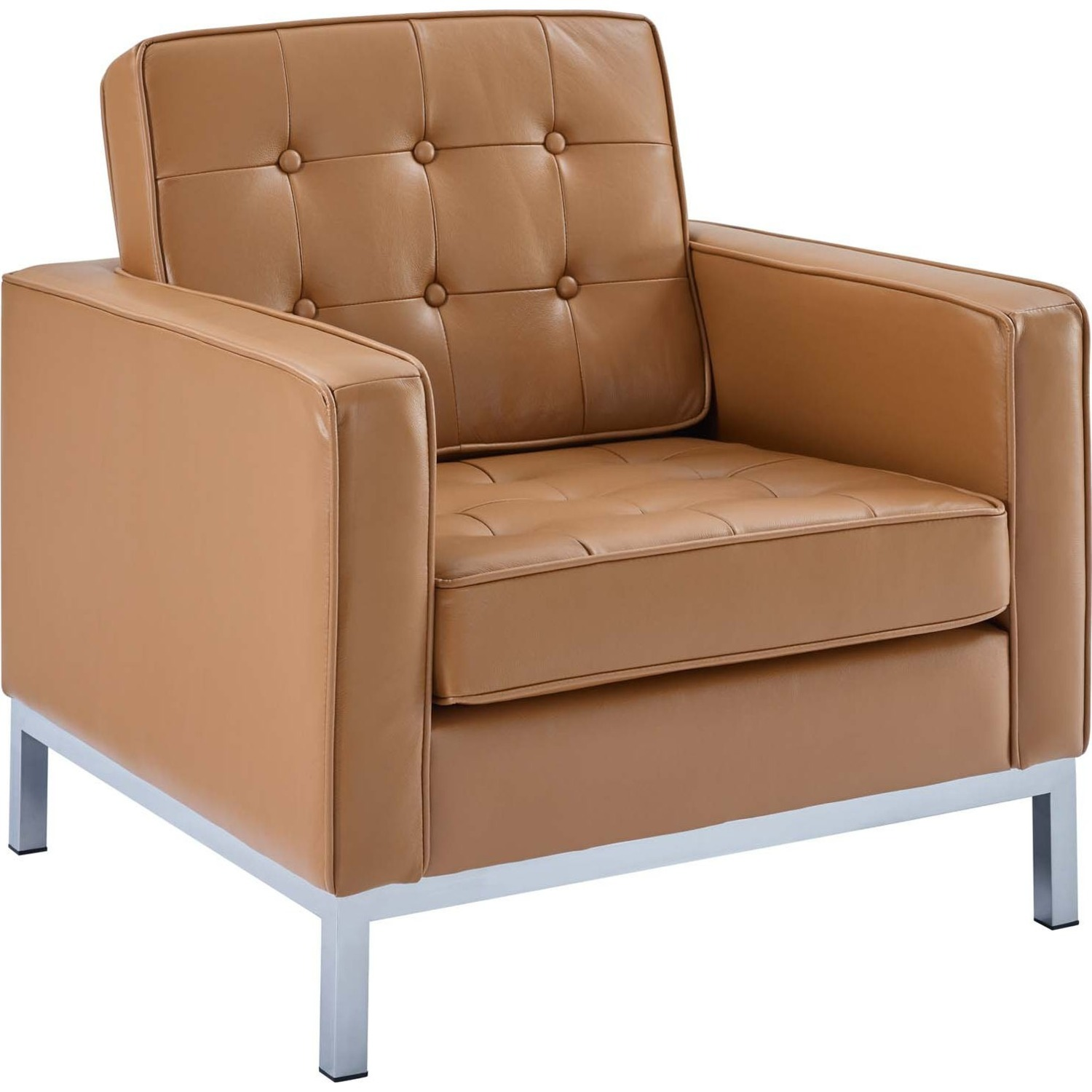 Modern Armchair In Tan Leather W/ Tufted Buttons - image-0