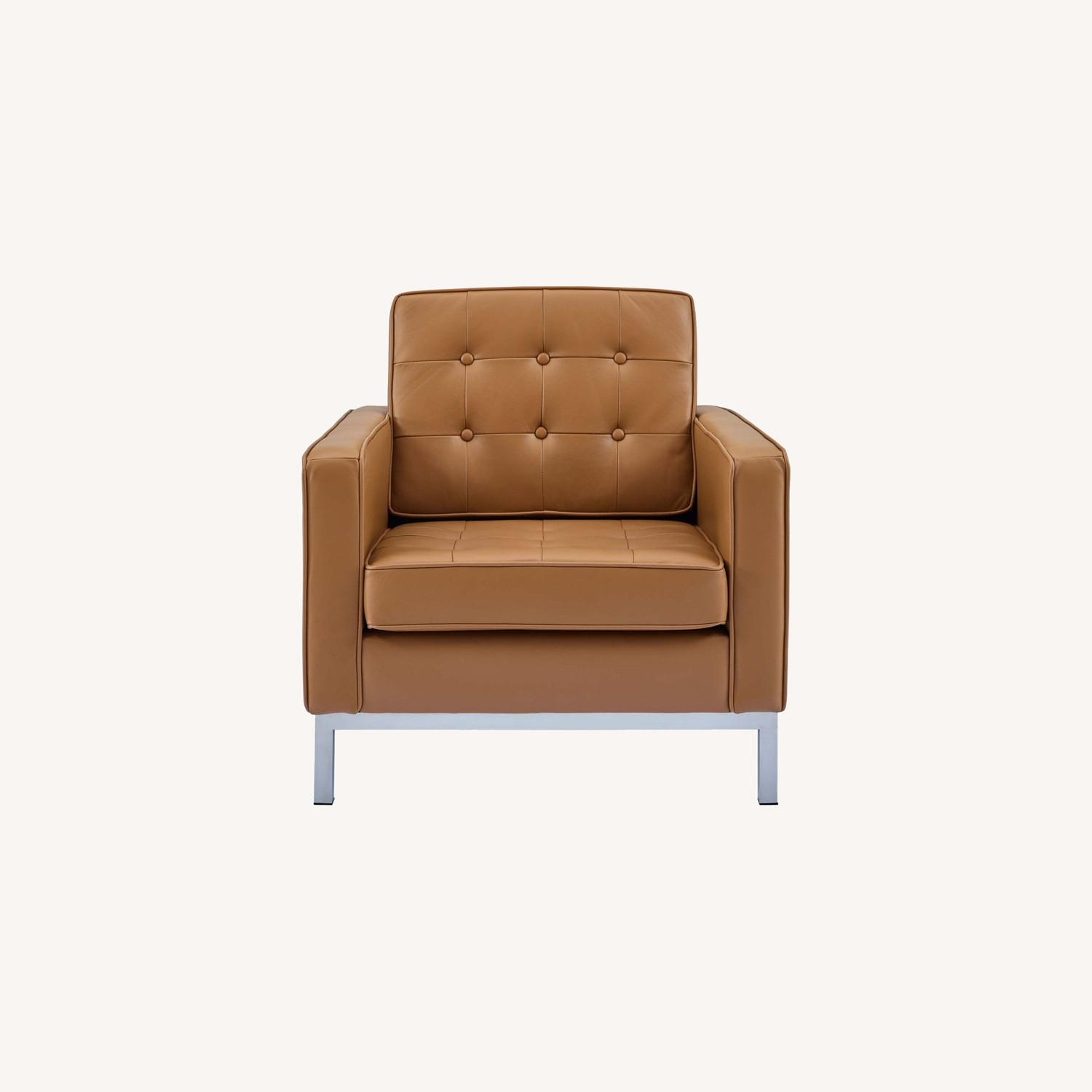 Modern Armchair In Tan Leather W/ Tufted Buttons - image-8