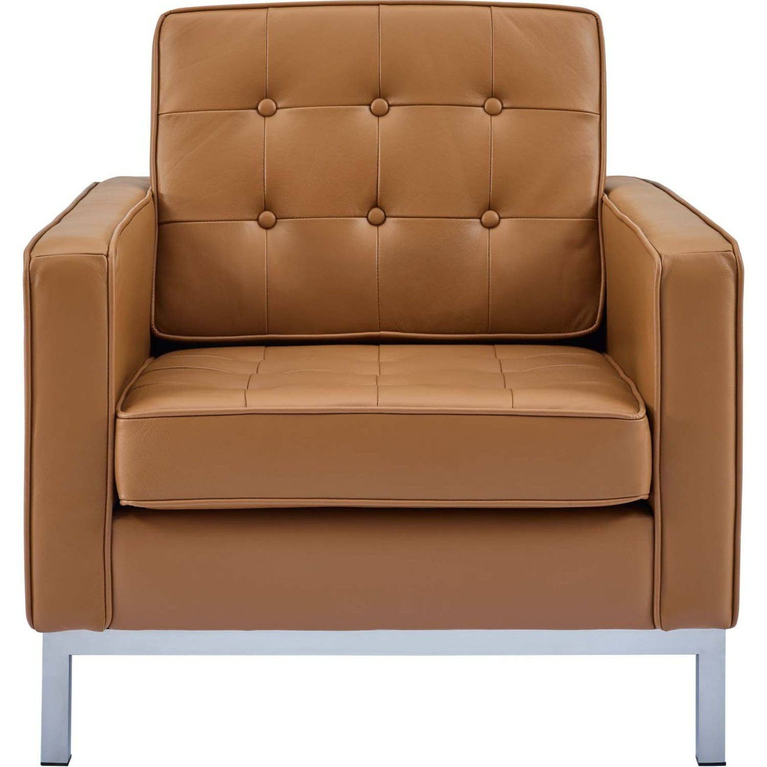 Modern Armchair In Tan Leather W/ Tufted Buttons - image-1