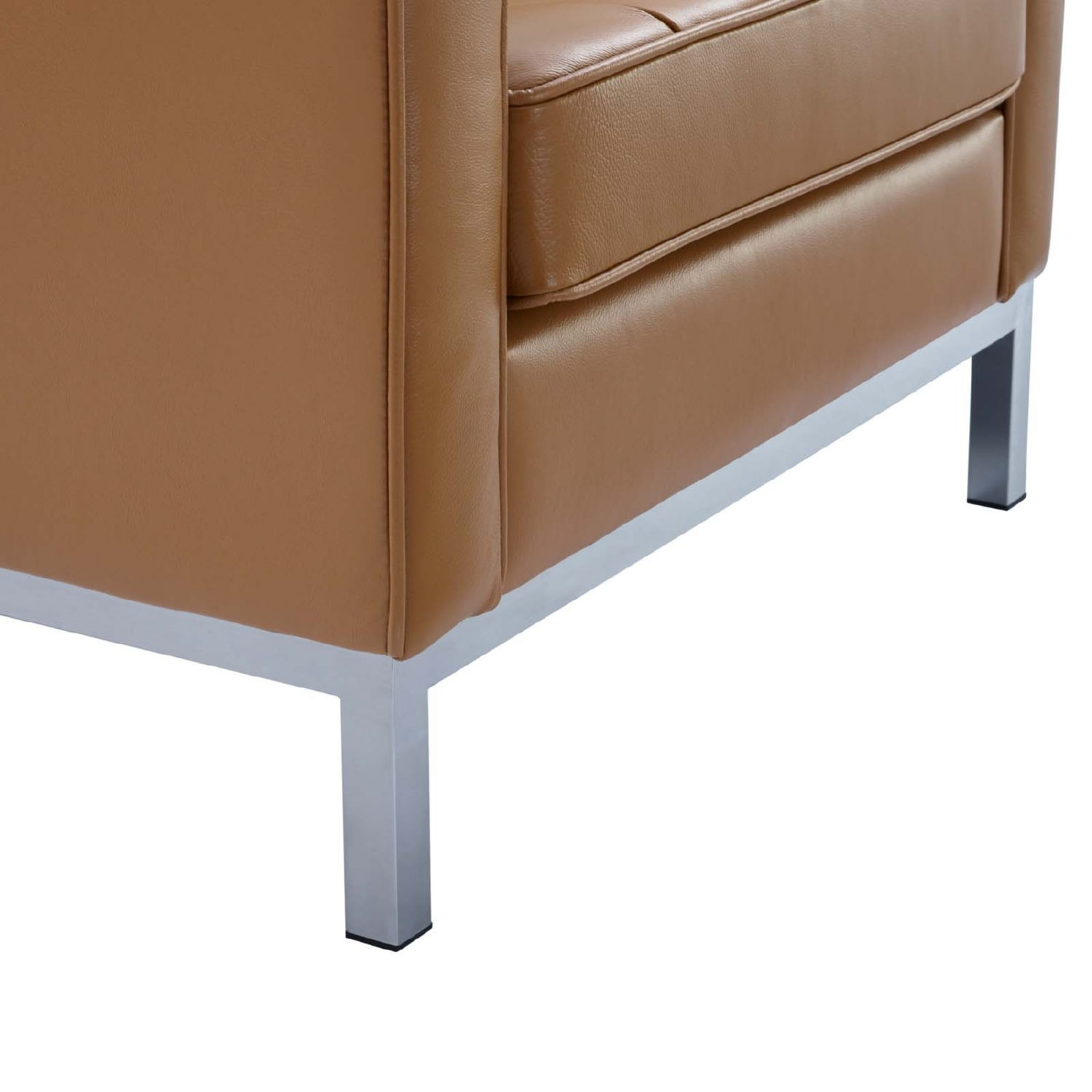Modern Armchair In Tan Leather W/ Tufted Buttons - image-4