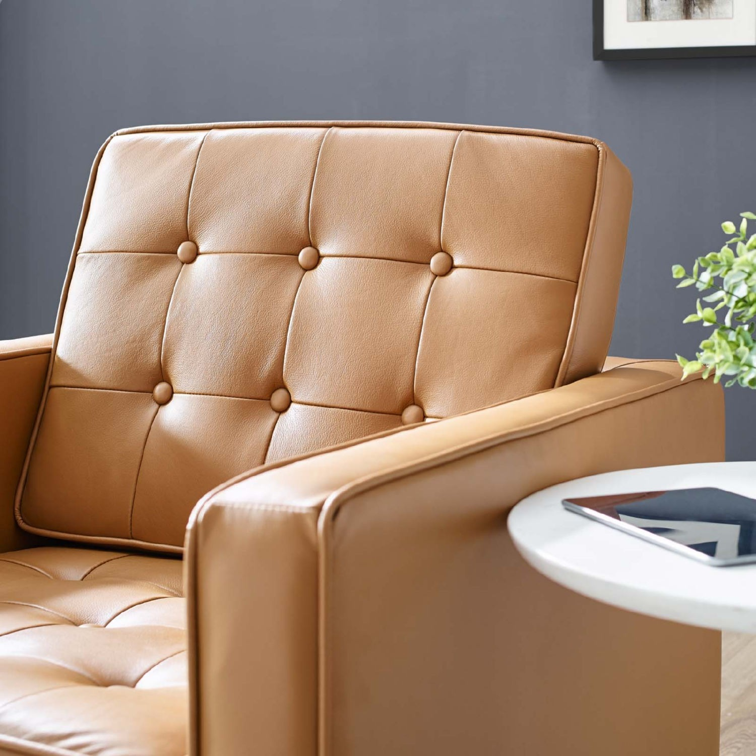 Modern Armchair In Tan Leather W/ Tufted Buttons - image-5