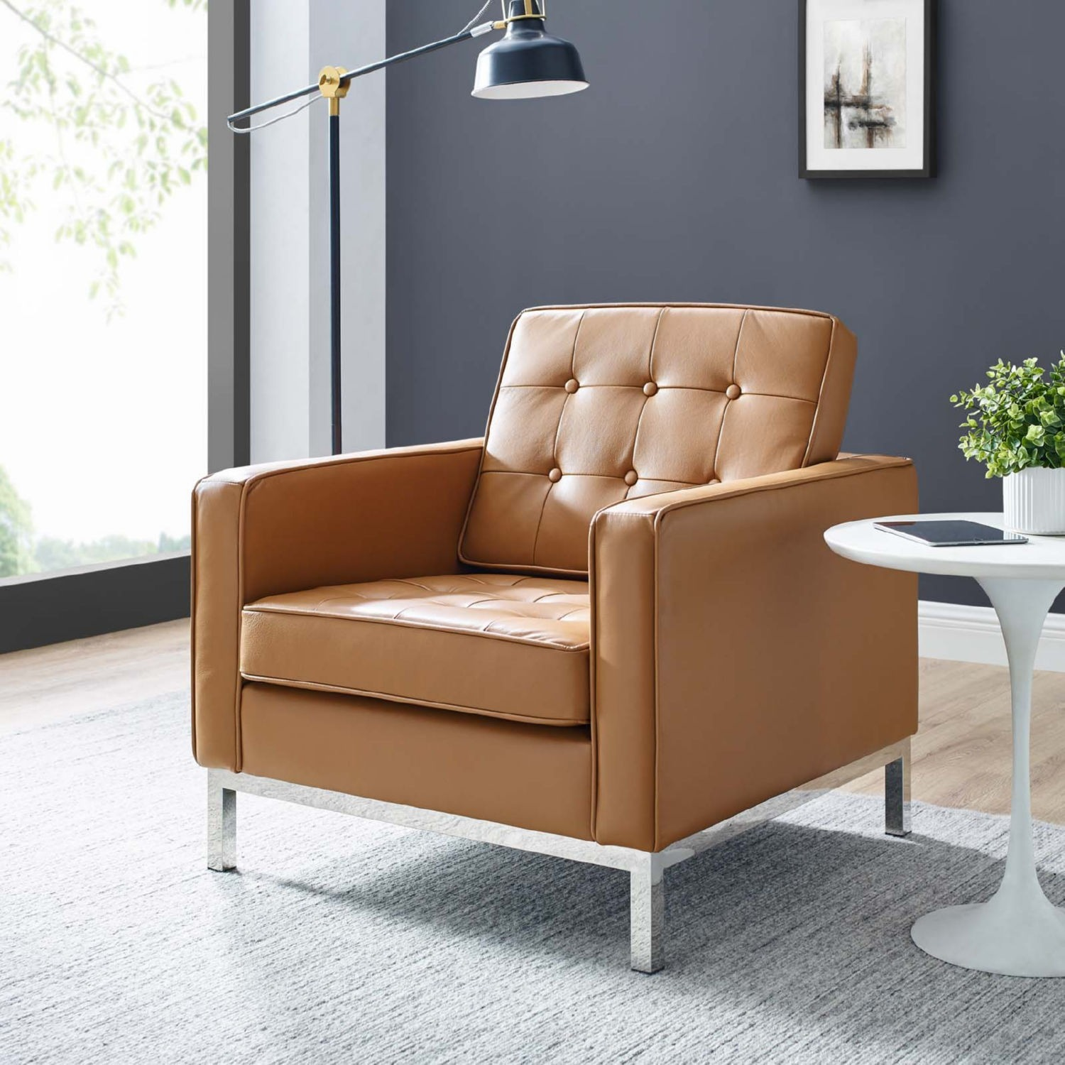 Modern Armchair In Tan Leather W/ Tufted Buttons - image-7