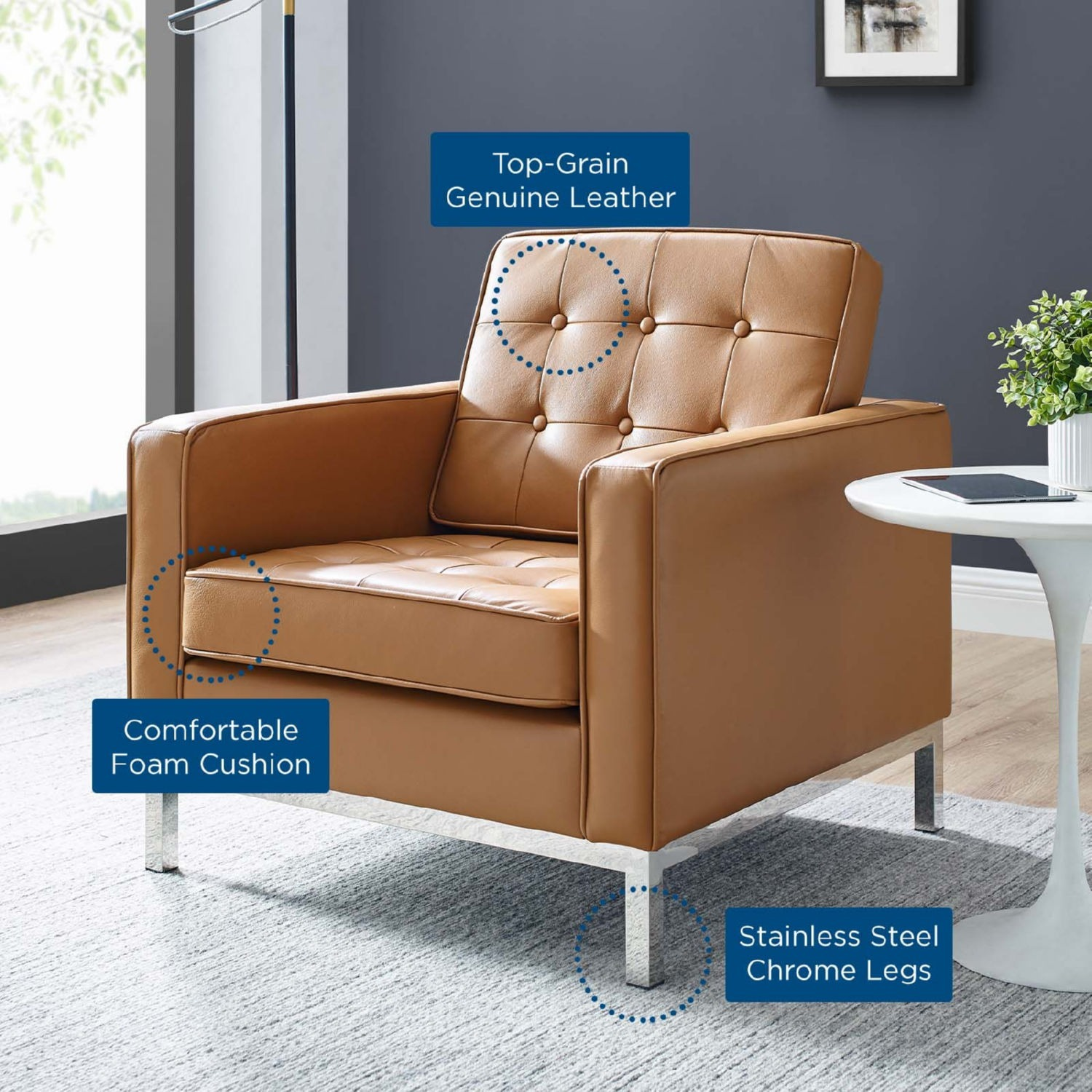 Modern Armchair In Tan Leather W/ Tufted Buttons - image-6