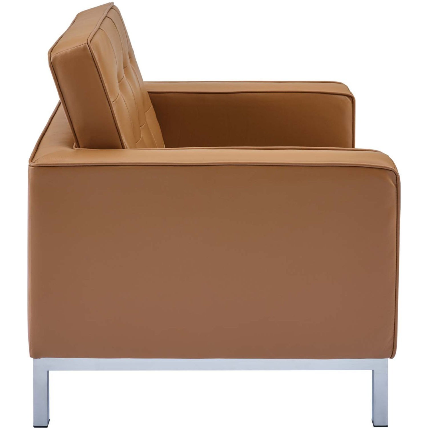 Modern Armchair In Tan Leather W/ Tufted Buttons - image-3
