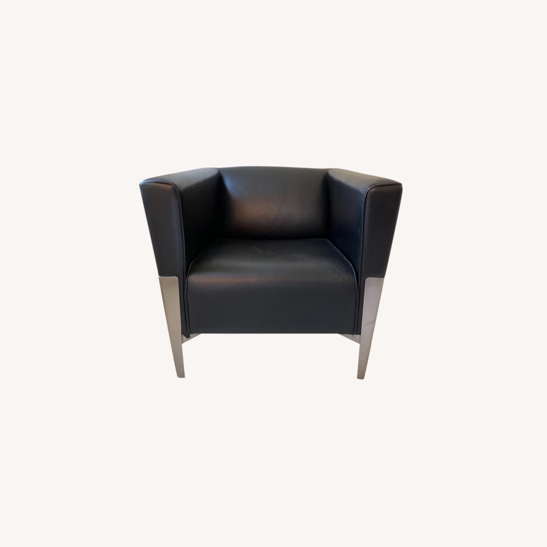 Midcentury Leather Armchair - Black - image-0