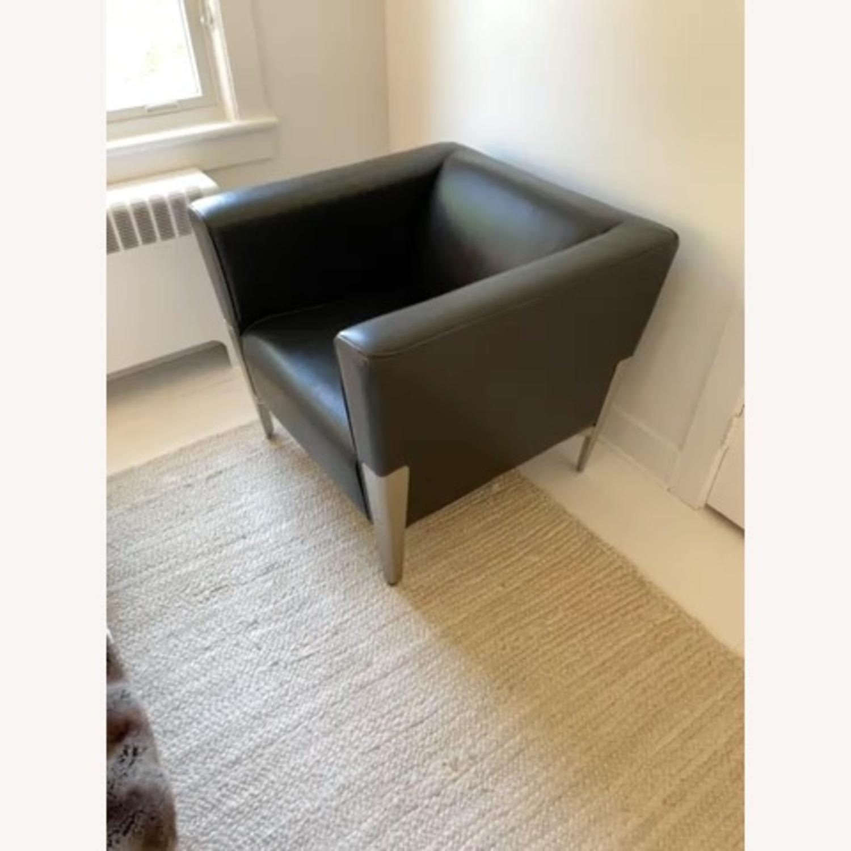 Midcentury Leather Armchair - Black - image-7