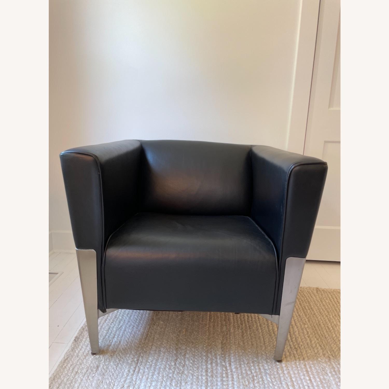 Midcentury Leather Armchair - Black - image-1