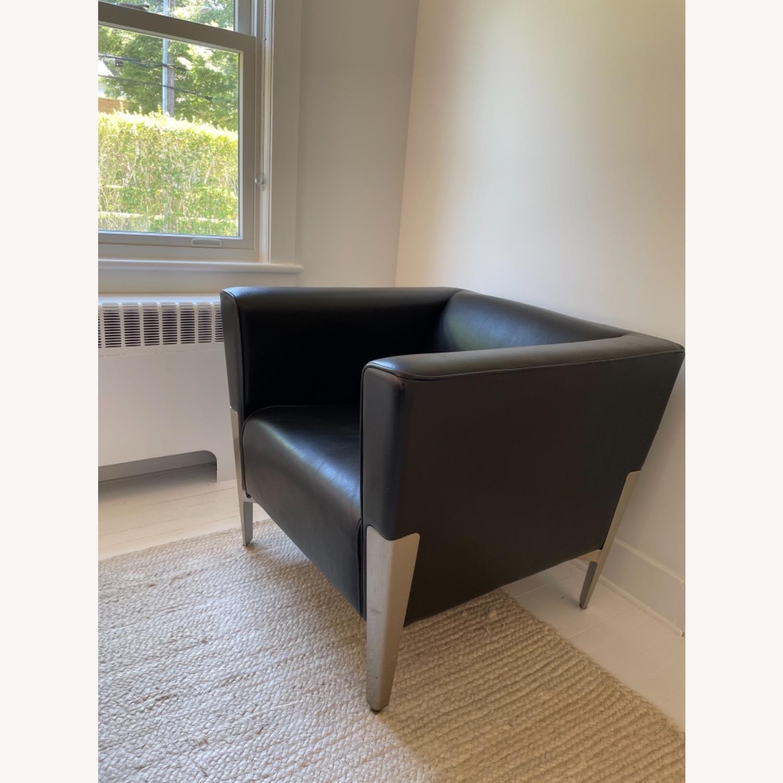Midcentury Leather Armchair - Black - image-2