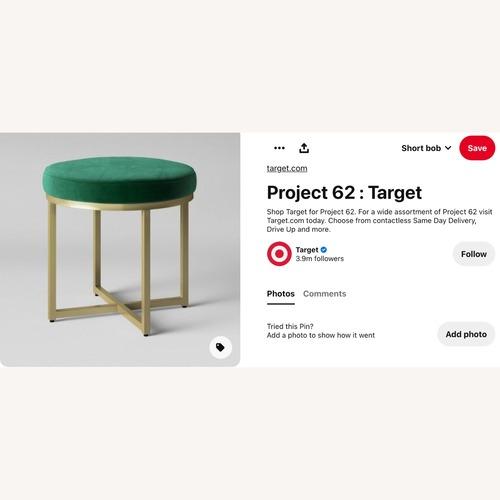 Used Target Emerald Green Velour Type Ottoman for sale on AptDeco