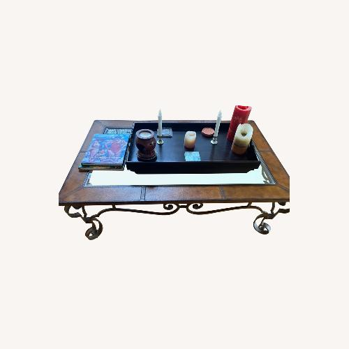 Used Bassett Glass/leather Coffee Table for sale on AptDeco
