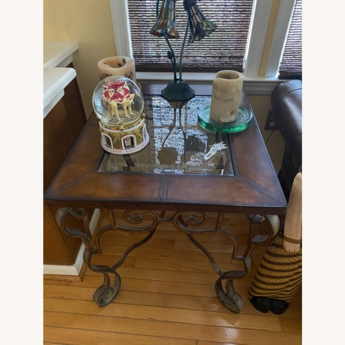 Used Bassett Leather/glass Living Room Side Tables for sale on AptDeco