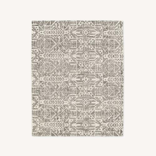 Used West Elm Hieroglyph Print Wool Rug, Slate, 5'x8' for sale on AptDeco