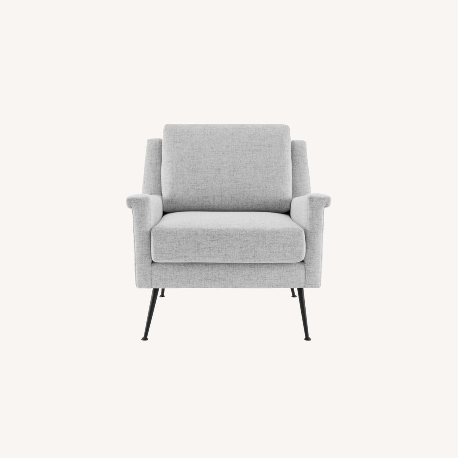 Modern Accent Armchair In Light Gray Fabric - image-8