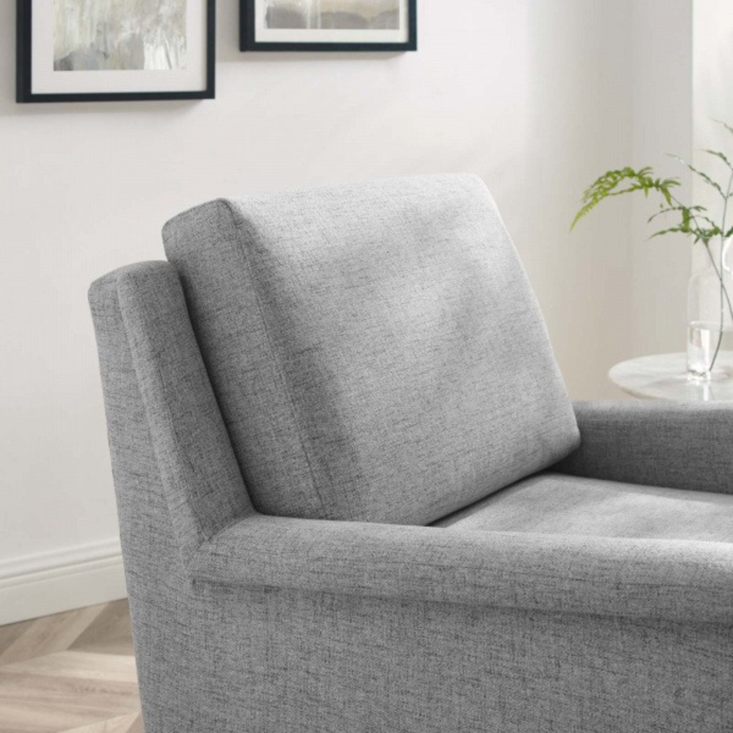 Modern Accent Armchair In Light Gray Fabric - image-6